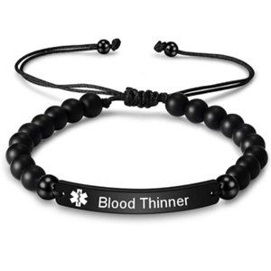 Natural Stone Beaded Medical Alert Blood Thinning